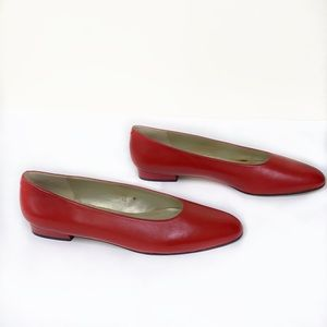 Pappagallo Red Leather Flats Round Toe Flats Sz 12
